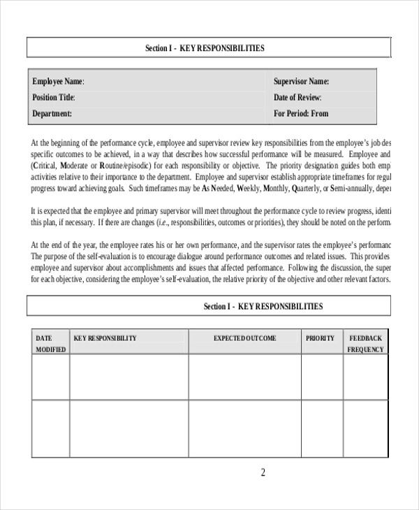 sample employee performance evaluation forms