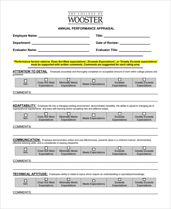 Sample Annual Appraisal Form   Free Documents In Pdf Doc