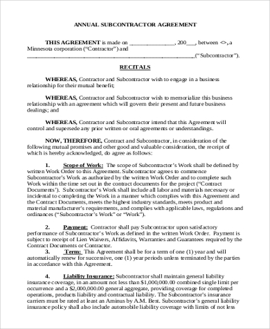 standard subcontract agreement template - subcontractor contract appendix c sample dbe plan