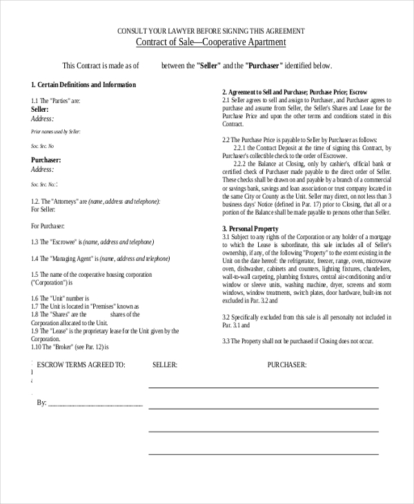 Sample Sales Contract Form - 9+ Free Documents In Pdf
