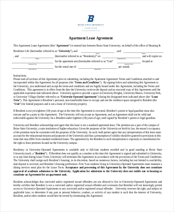 Apartment Lease Agreement Printable  Lease Agreement Printable