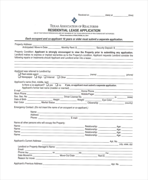 Sample Apartment Rental Application Form