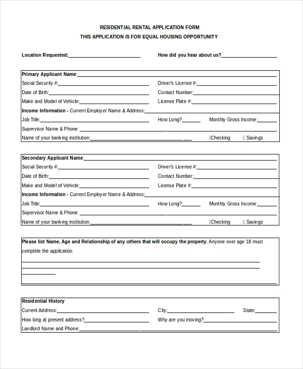 Sample Apartment Rental Application Form - 8+ Free Documents in Word ...