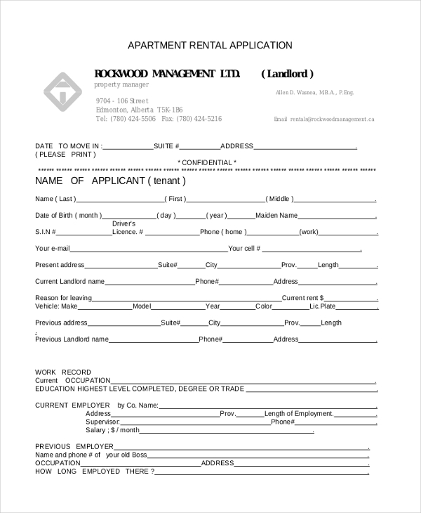Sample Apartment Rental Application Form   Free Documents In Word