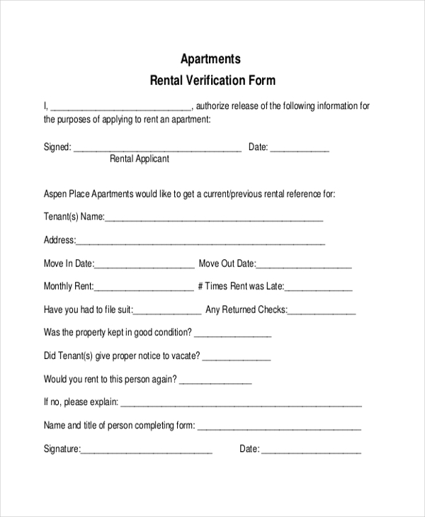 rent verification Sample Rental Verification Form - 9  Free Documents in PDF