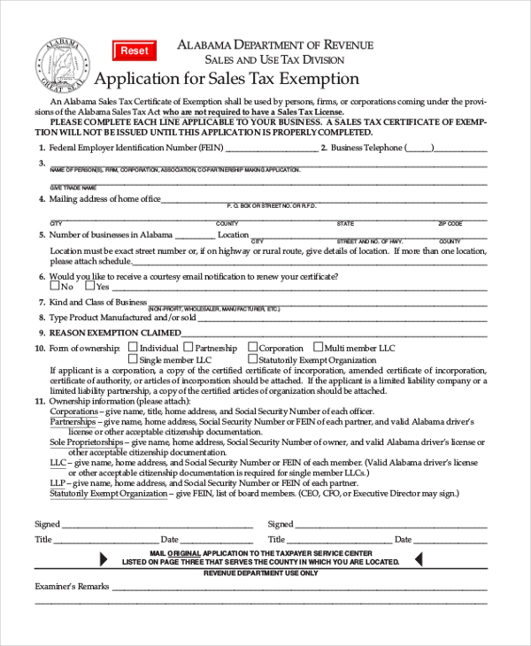 Sample Tax Exemption Form - 8+ Free Documents in PDF