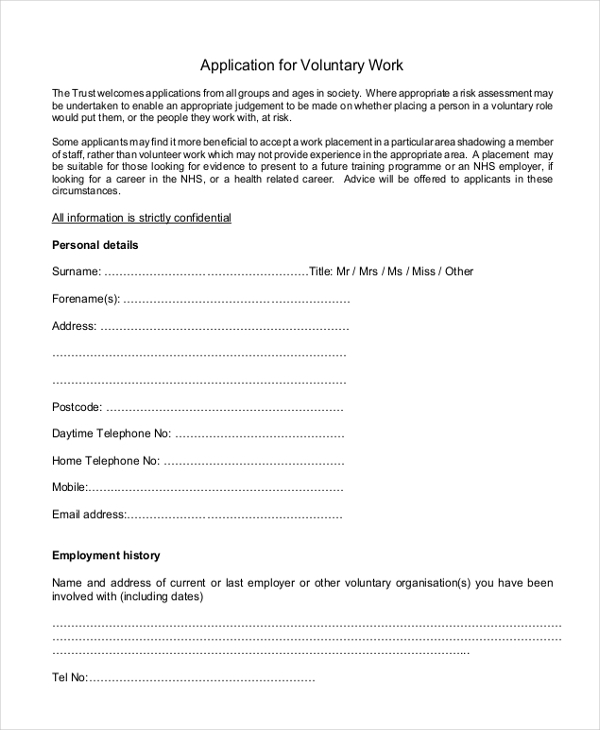 free 8  sample volunteer application forms in sample
