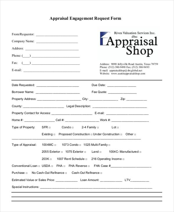 appraisal engagement request form