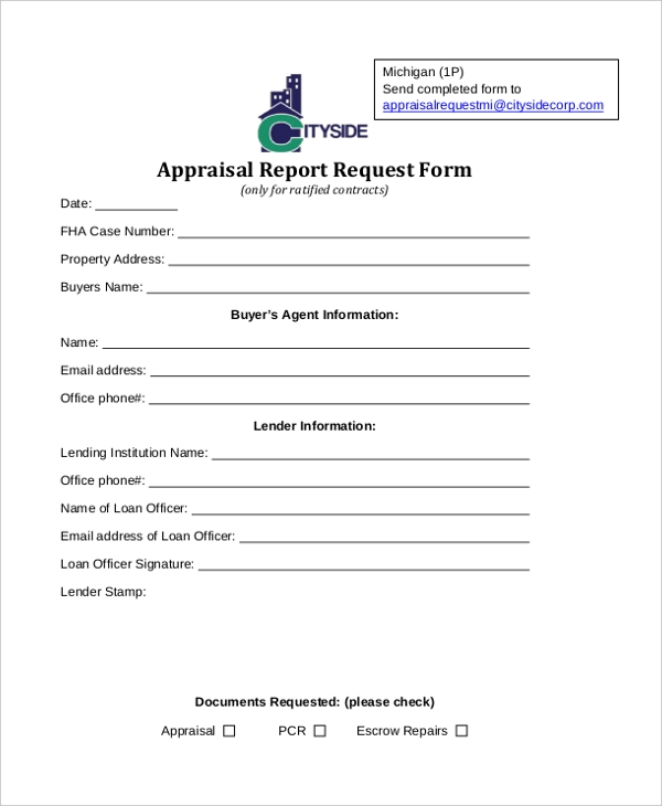 appraisal report request form