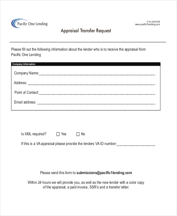 Sample Appraisal Request Forms  Free Sample Example Format