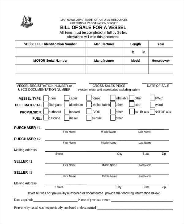 bill of sale for vessel
