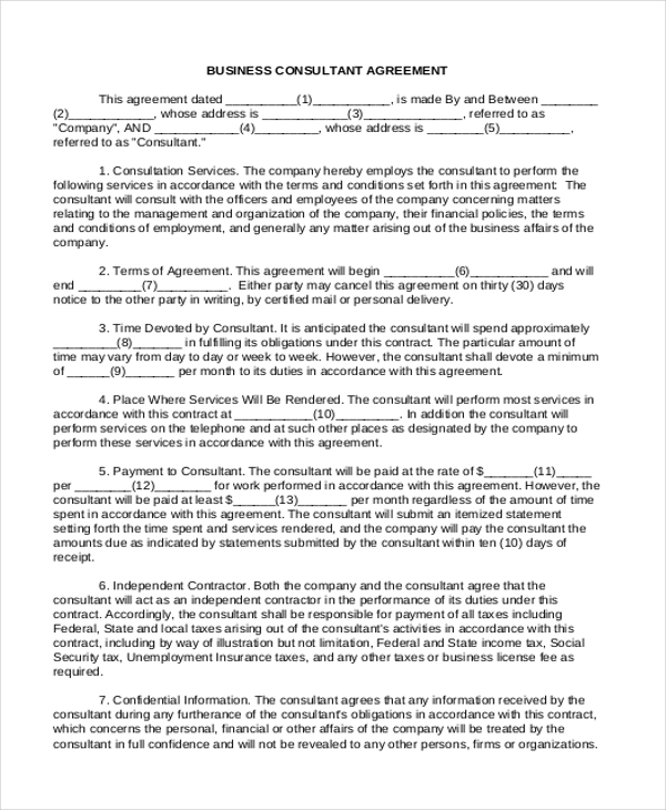 Sample Business Agreement Forms  Free Sample Example Format