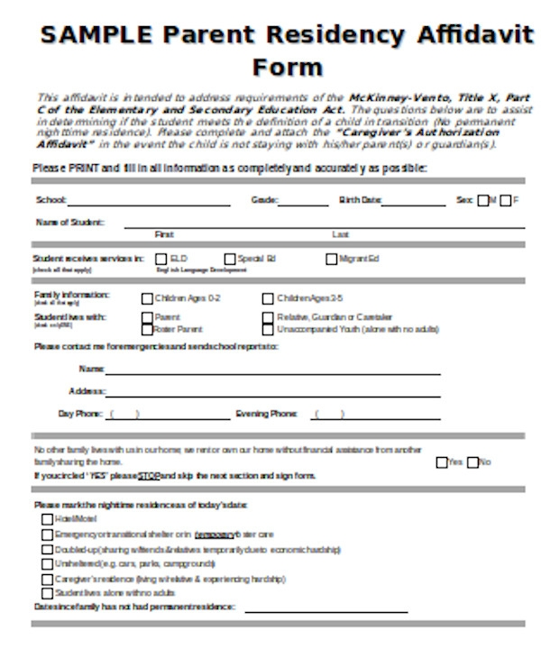 basic affidavit of residency form