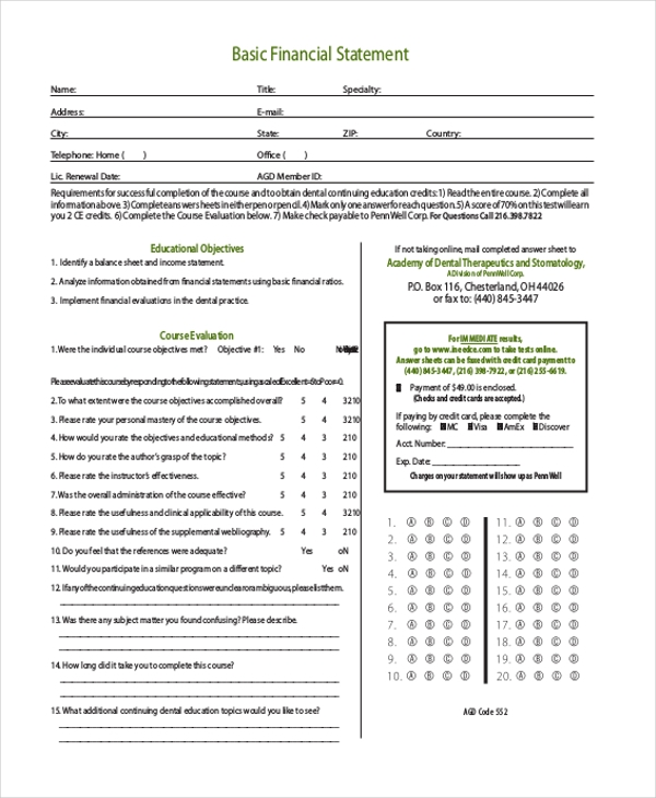 Basic Financial Statement Form  Basic Financial Statement Template