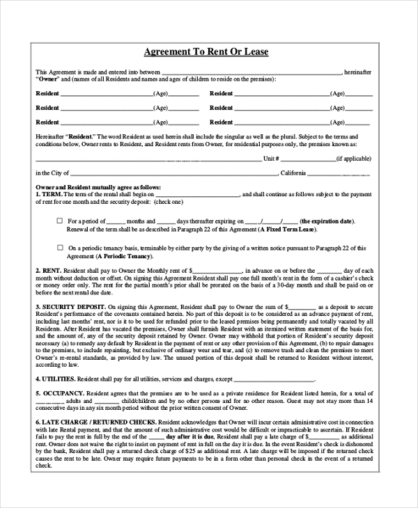 Sample Rental Agreement Month To Month Form 8 Free