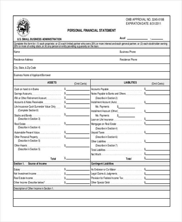 Sample Personal Financial Statement Form - 7+ Free Documents In
