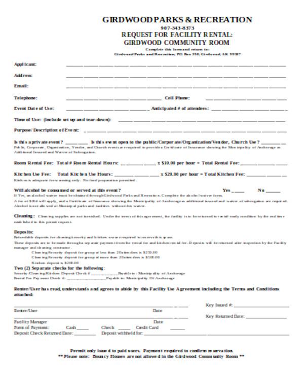 basic room rental form