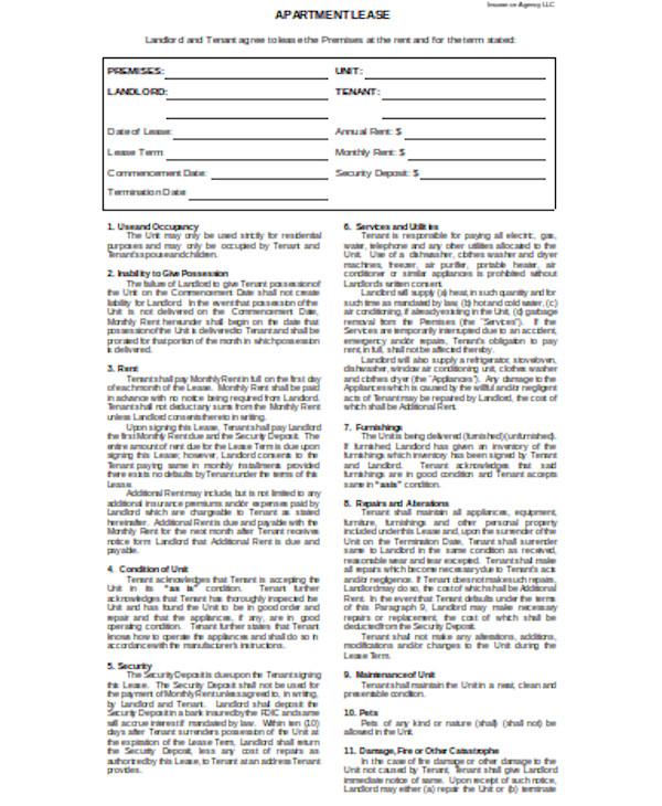 basic tenant agreement form