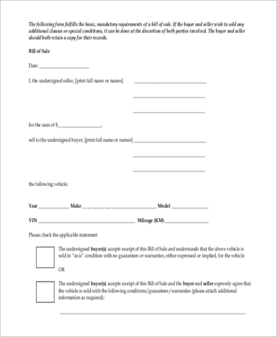 Sample Used Car Bill Of Sale Form   Free Document In  Doc