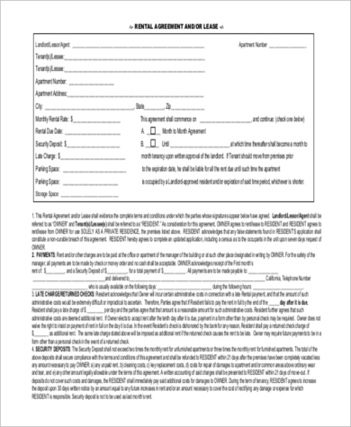 blank apartment rental agreement 1
