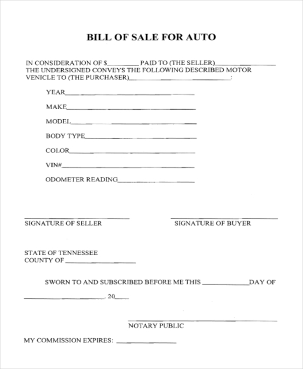 blank auto bill of sale