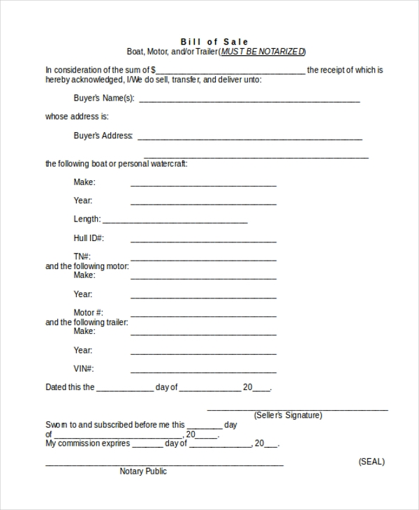 Trailer Bill Of Sale Form   Free Documents In Word Pdf