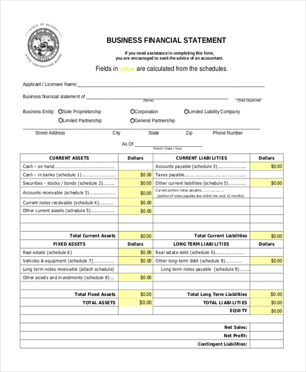 Sample Financial Statement Form 10 Free Documents in PDF – Asset and Liability Statement Template