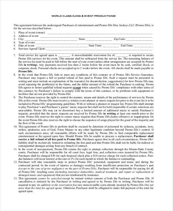 sample dj contract form 8 free documents in pdf doc