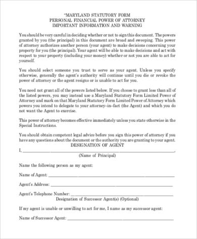 Sample Financial Power Of Attorney Form   Free Documents In Pdf
