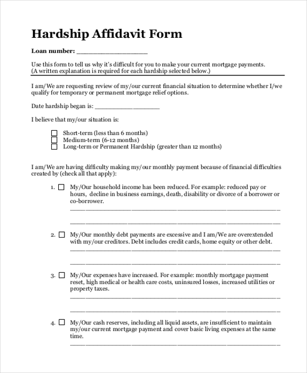 Sample blank affidavit form 9 free documents in pdf blank hardship affidavit form pdf altavistaventures Image collections