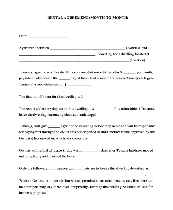 blank house rental agreement form