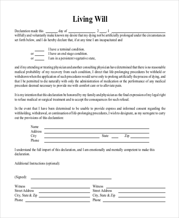 template for a living will - sample free living will form 8 free documents in doc pdf