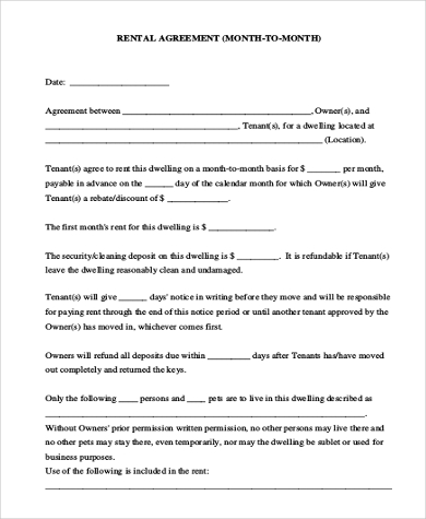 Sample Blank Rental Agreement Form   Free Documents In Doc Pdf