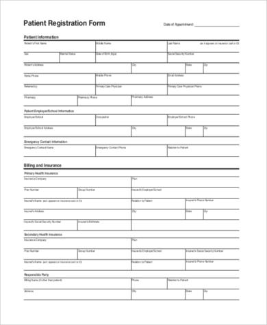blank patient registration form