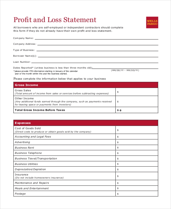 Sample Profit and Loss Statement Form 8 Free Documents in PDF Xls – Blank Profit and Loss Statement Form