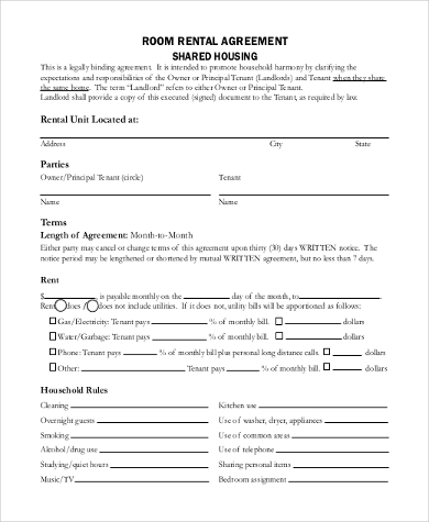 Sample Blank Room Rental Agreement Form