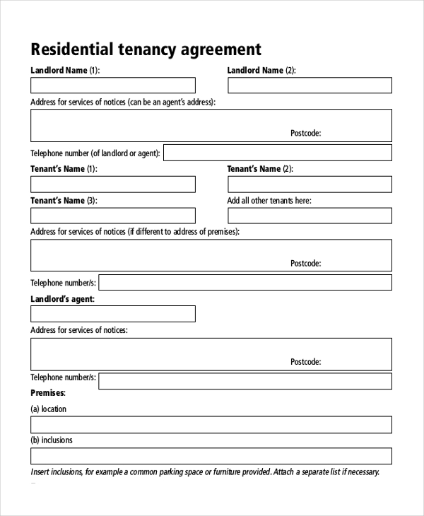 Sample Tenancy Agreement Form 8 Free Documents in PDF Doc – Landlord Agreement Template