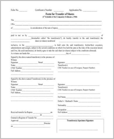 blank transfer deed td for shares format