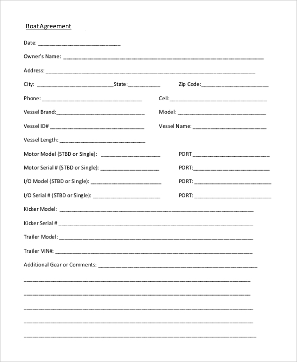 boat sales agreement form