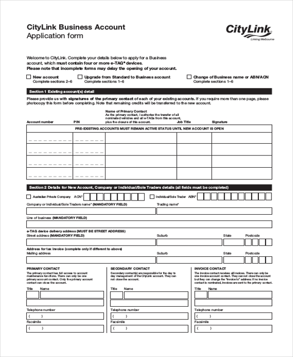 business account application