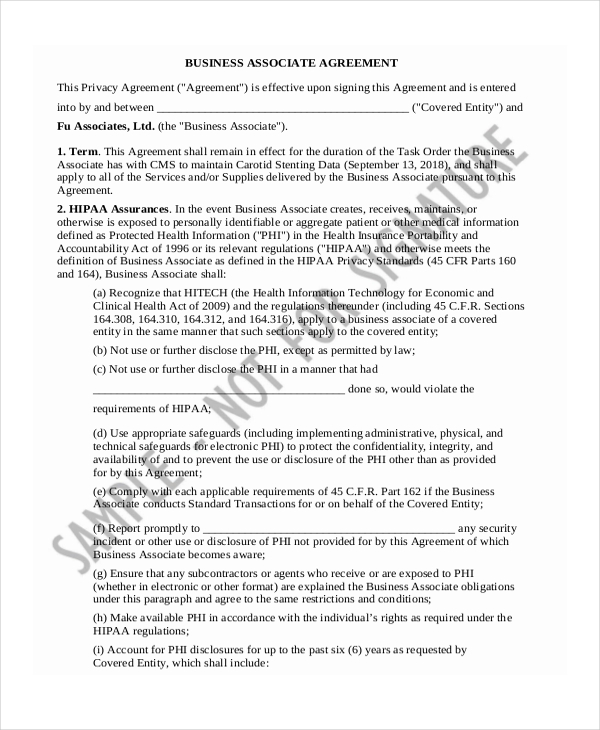 Sample Business Agreement Form 9 Free Documents in PDF Doc – Business Associate Agreement Samples