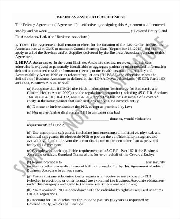8 Sample Business Agreement Forms Free Sample Example Format – Business Associate Agreement Samples