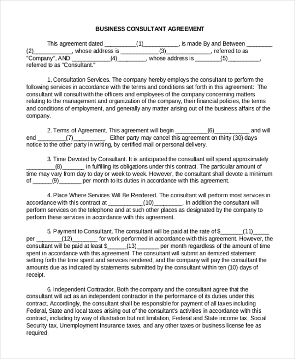 Sample consulting agreement form 9 free documents in for Consultation agreement template