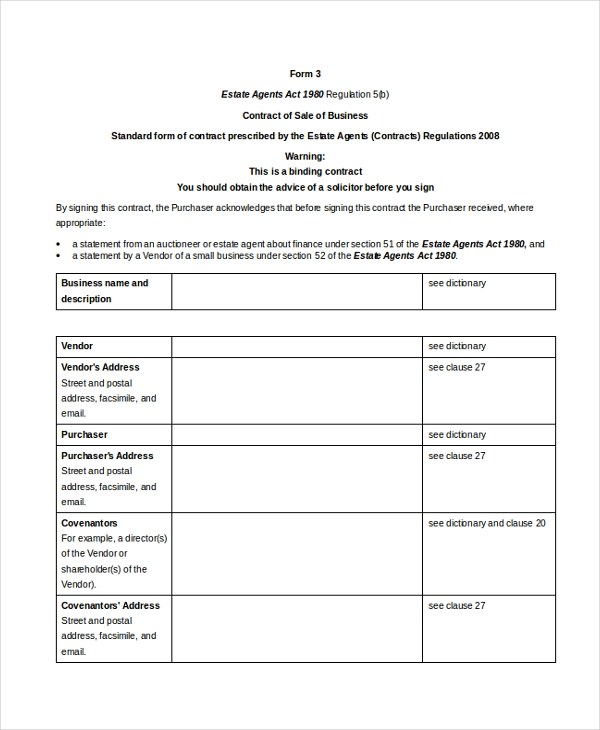 Sample Business Agreement Form   Free Documents In Pdf Doc