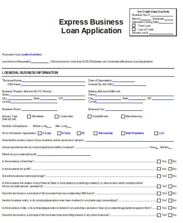 business loan application sample