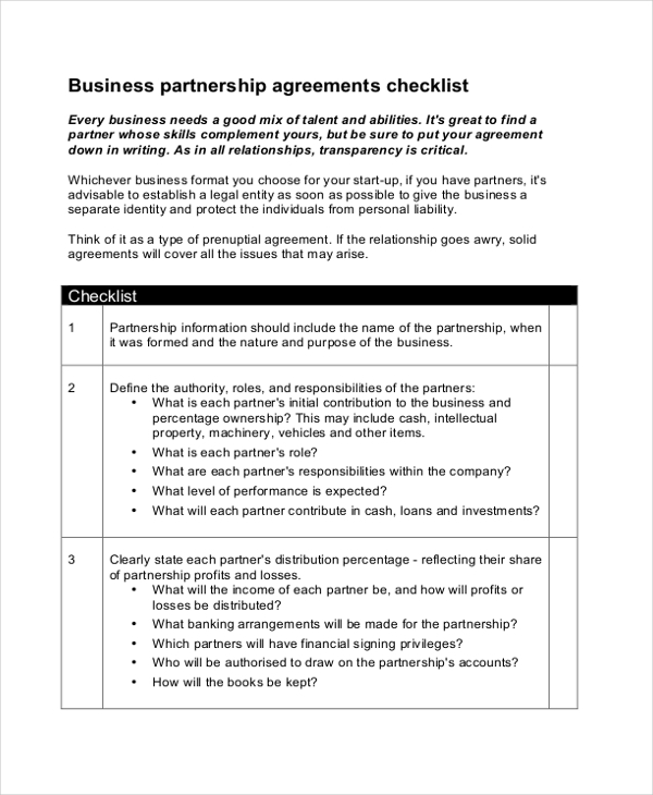 Business Partnership Agreement Checklist