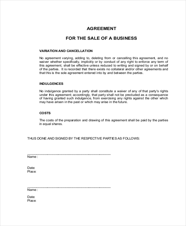 Business Sales Agreement Contract Form  Business Sale Contract Template