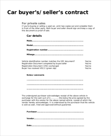 buying a used car bill of sale