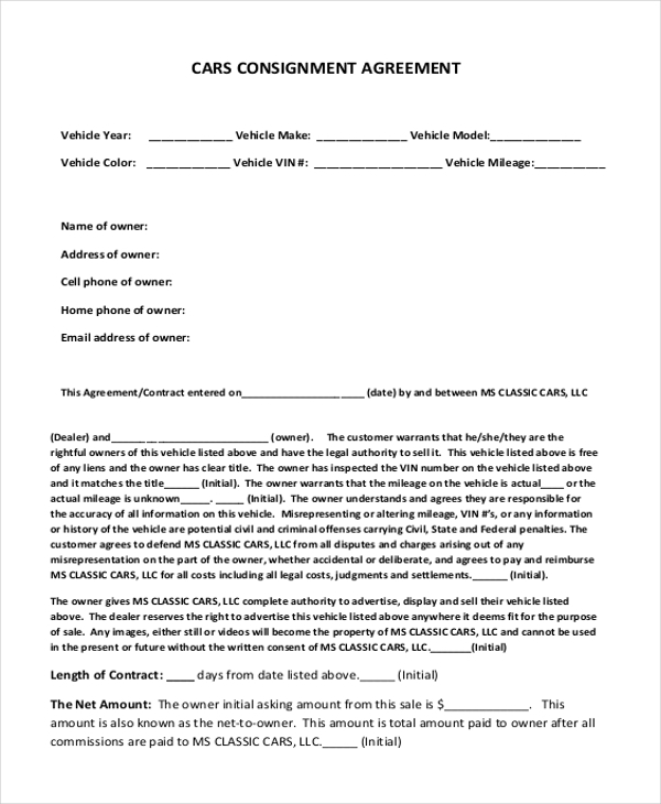 Consignment agreement form 7 consignment agreement sample for Consignment shop contract template