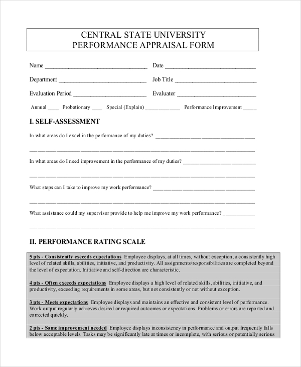 central state university performance appraisal form